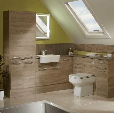 Fitted bathroom furniture in an oak effect flat panel door