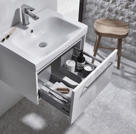 Bathroom sink vanity unit with pull out drawer storage